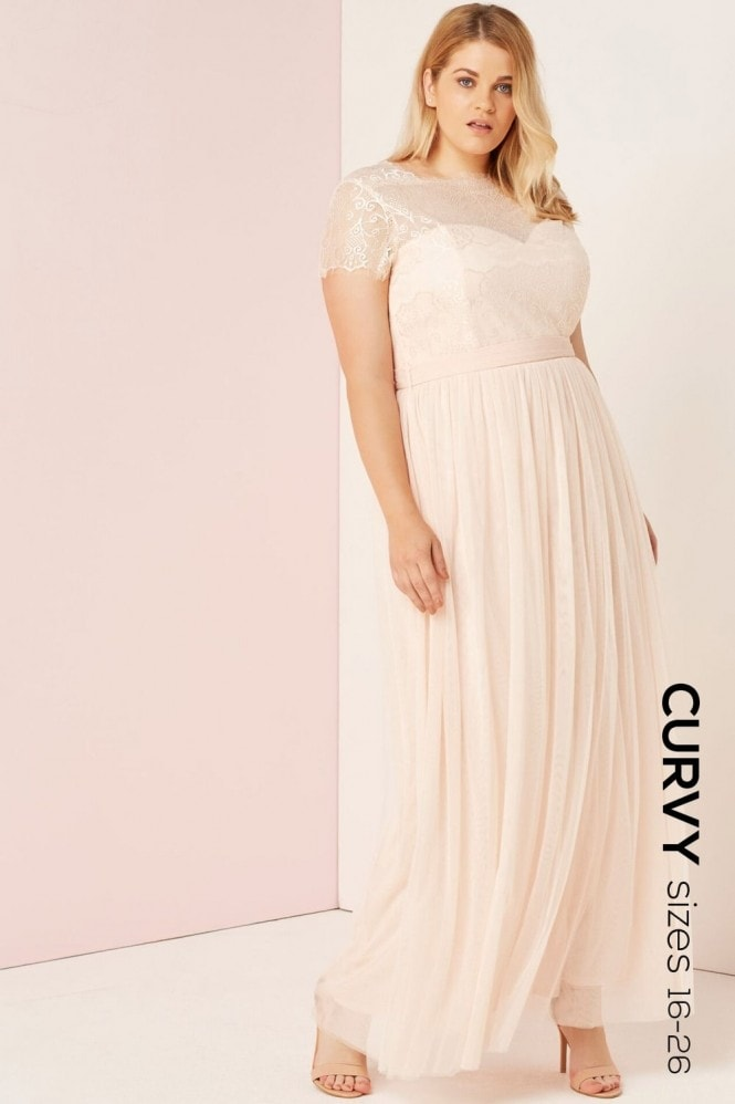 Little Mistress Curvy Nude Lace Overlay Maxi Dress