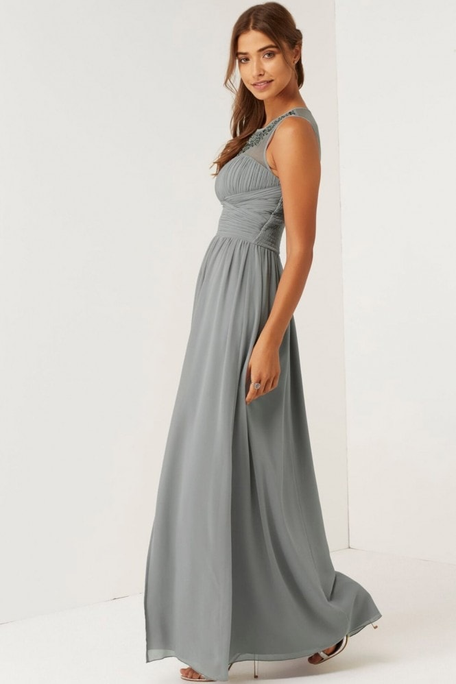 Little Mistress Grey Jewel Neck Maxi Dress