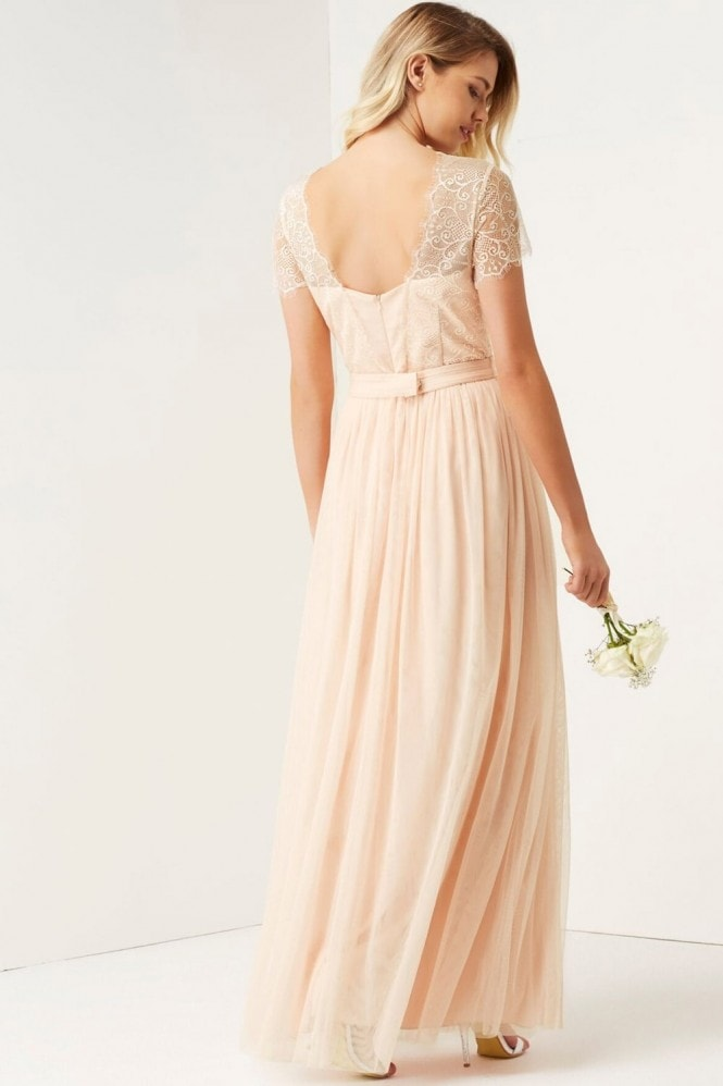 Little Mistress Nude Lace Overlay Maxi Dress