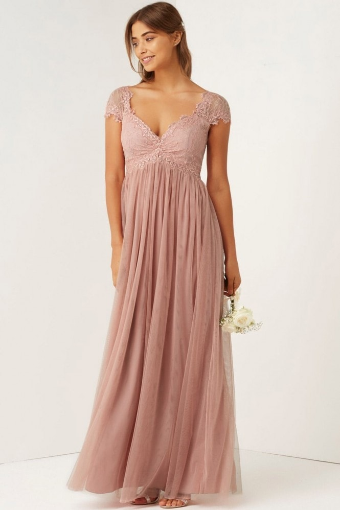Little Mistress Rose Lace Empire Maxi Dress