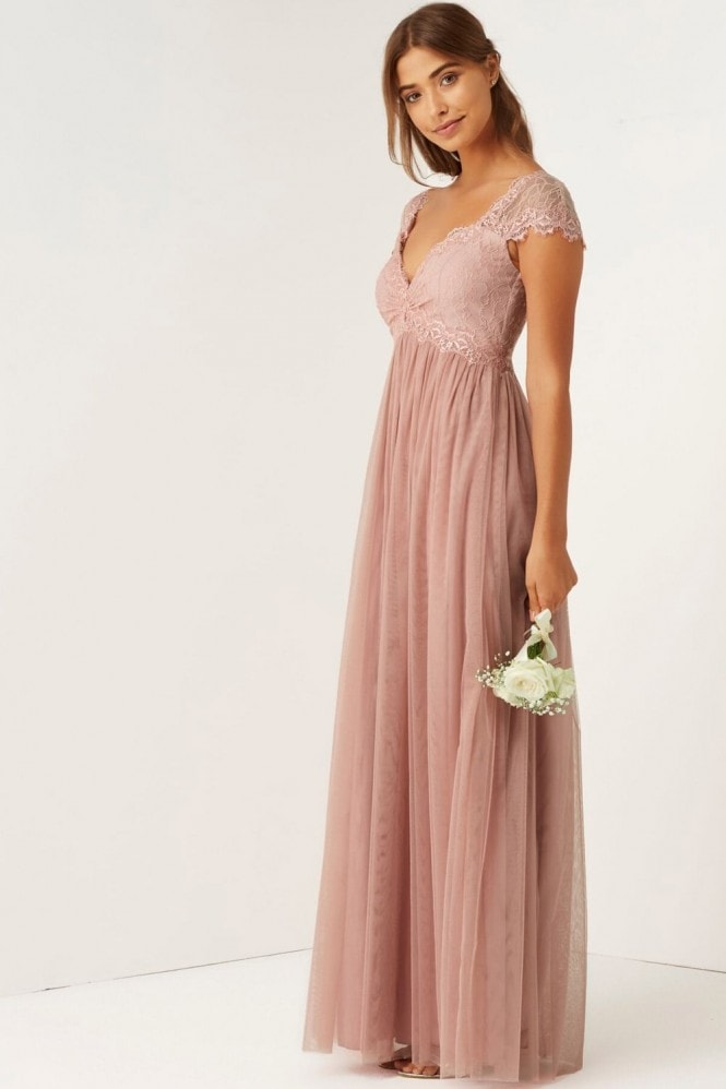Rose Lace Empire Maxi Dress From Little Mistress Uk