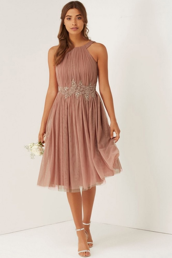 Little Mistress Apricot Applique Mesh Dress
