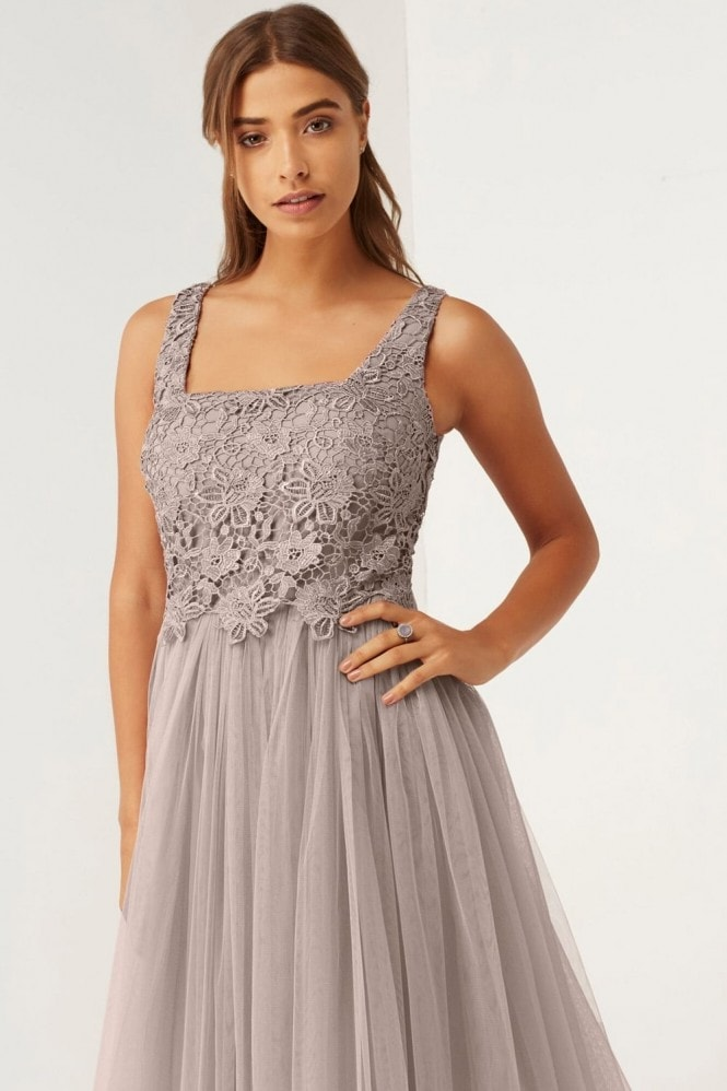 Mink Lace and Mesh Prom Dress