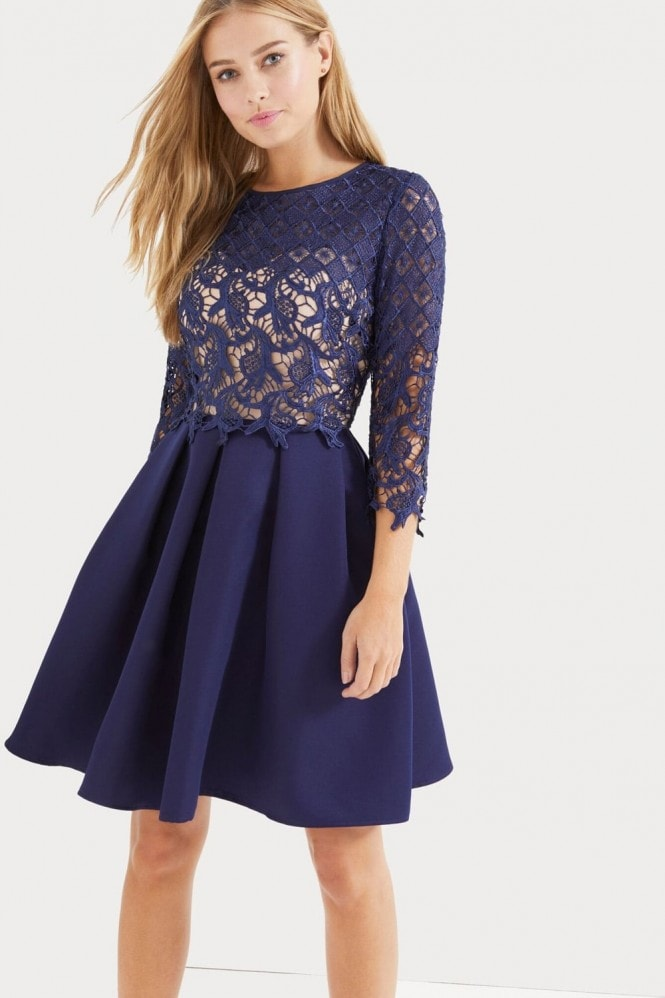 Little Mistress Navy Crochet Overlay Dress