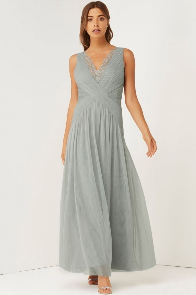 Little Mistress Grey Pleated Lace Maxi Dress