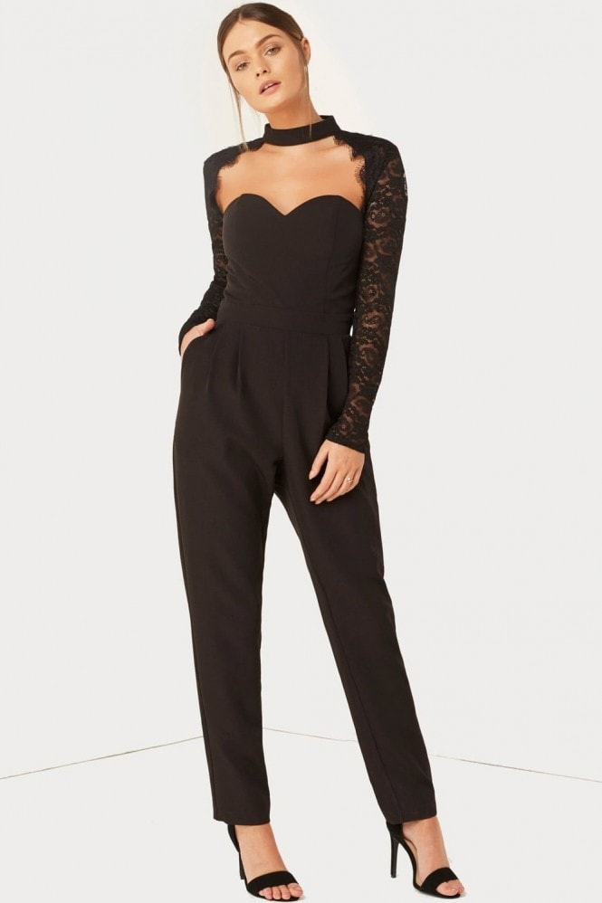Girls on Film Black Lace Jumpsuit