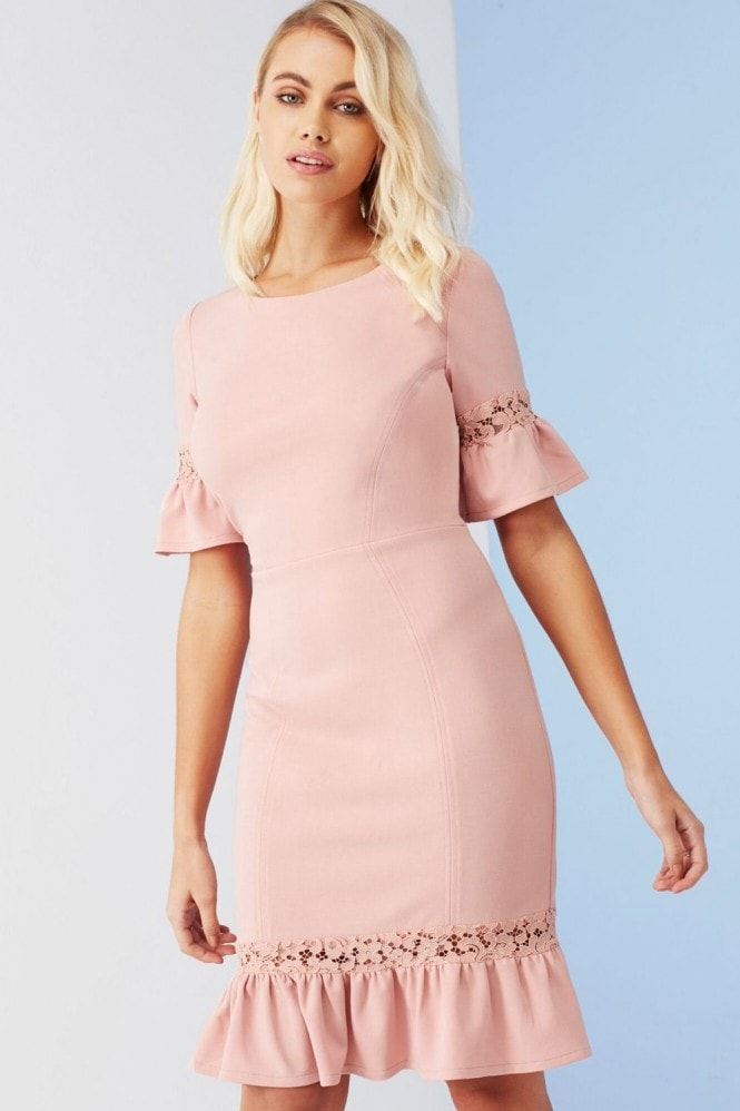 Outlet Paper Dolls Rose Lace Panel Peplum Dress
