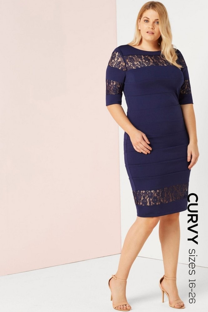 Paper Dolls Curvy Navy Bodycon Dress