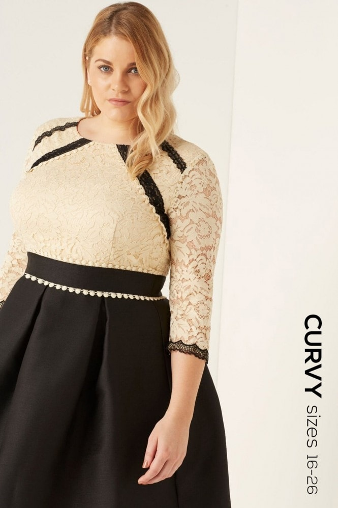 Little Mistress Curvy Beige Lace Fit and Flare Dress