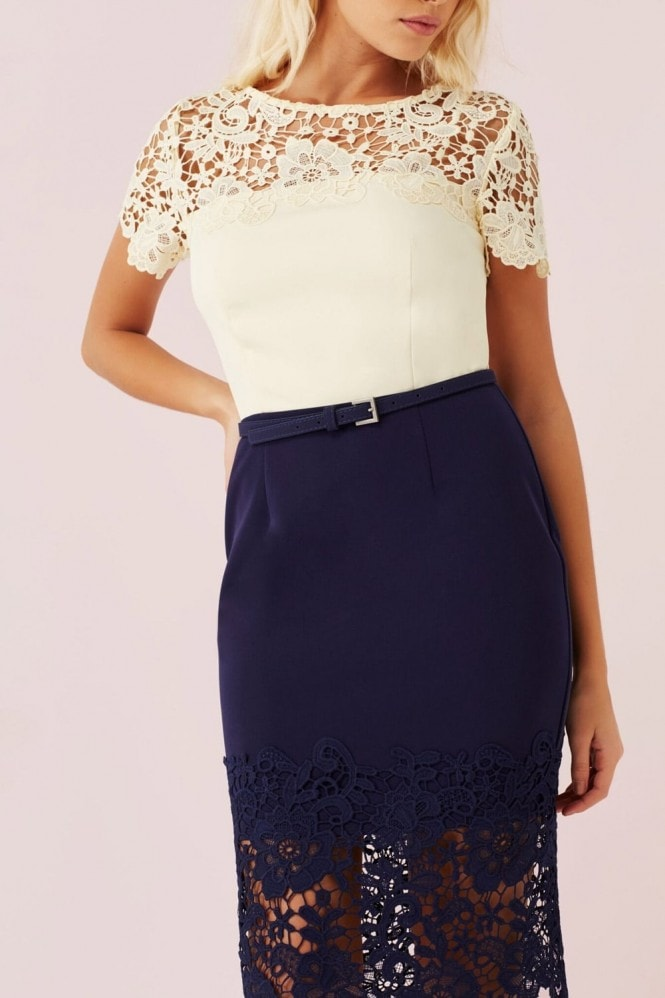 Outlet Paper Dolls Cream And Navy Lace Panel Dress