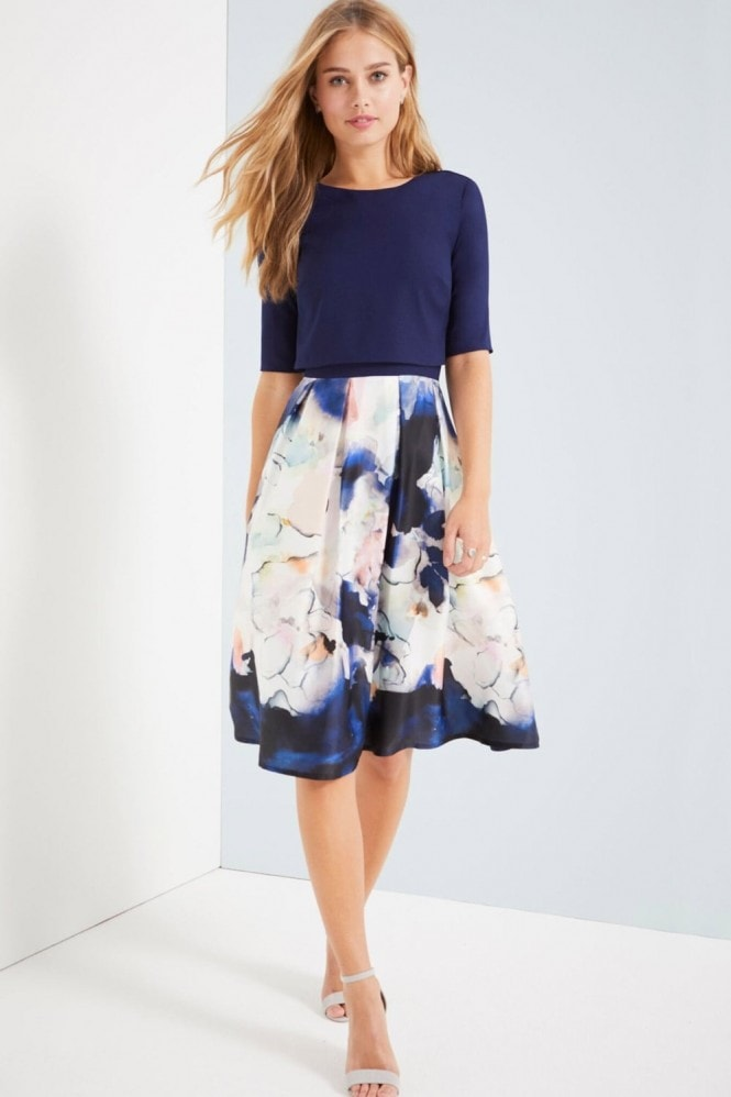 Little Mistress Floral Blur Print 2 In 1 Dress