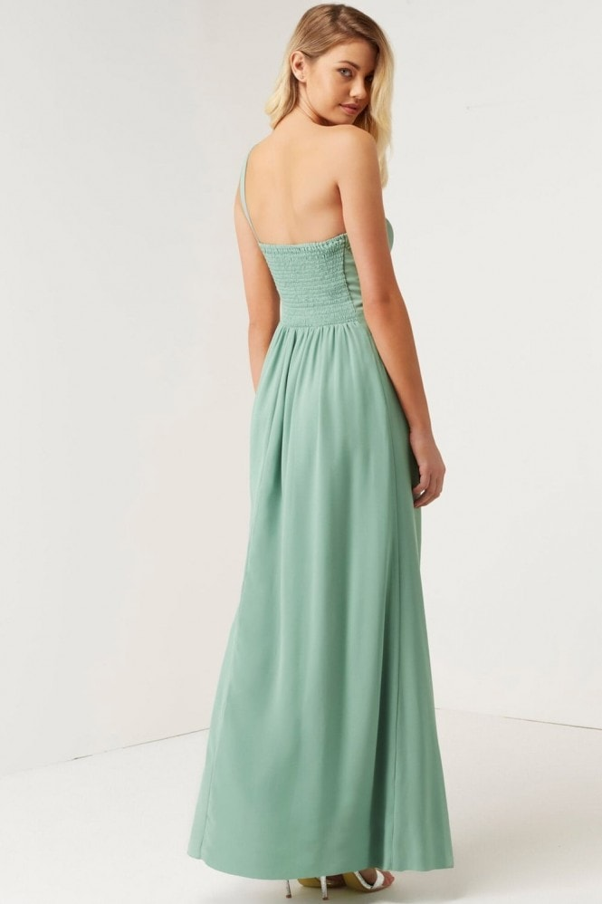Little Mistress Sage Jewel Waist Maxi Dress