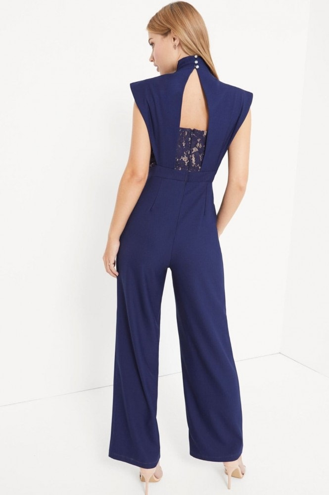 Little Mistress Navy Pleat Jumpsuit With Lace