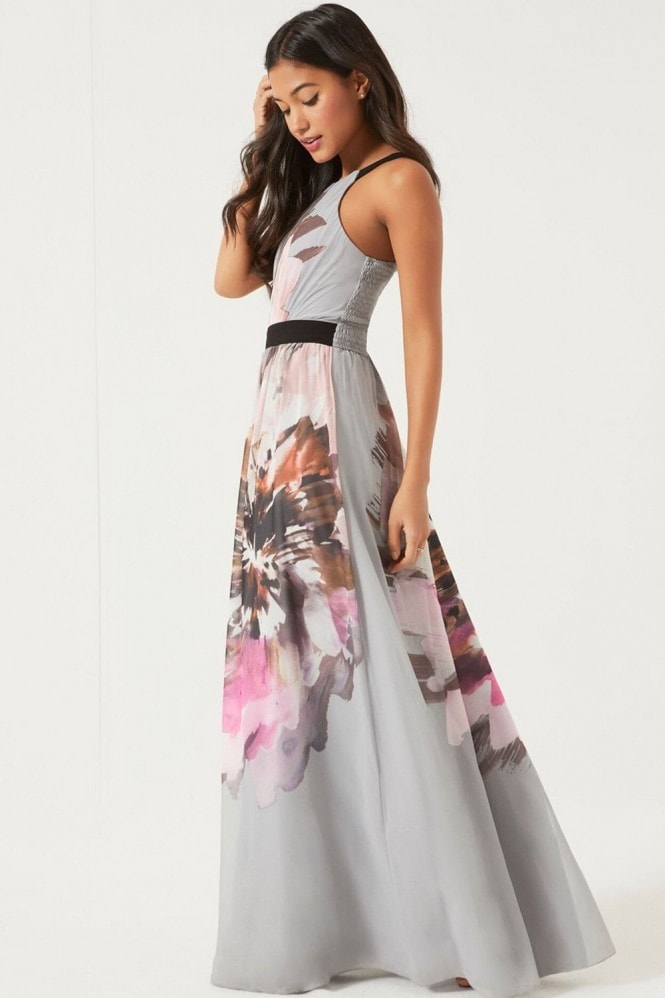 Little Mistress Floral Placement Printed Maxi Dress