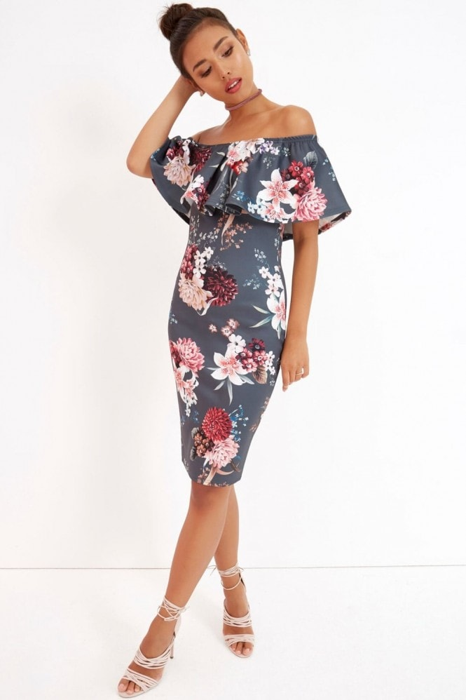 Girls on Film Floral Print Ruffle Bardot Dress