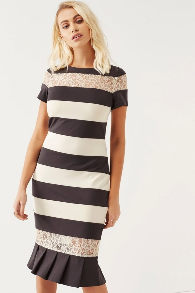 Paper Dolls Charcoal And Cream Stripe Dress