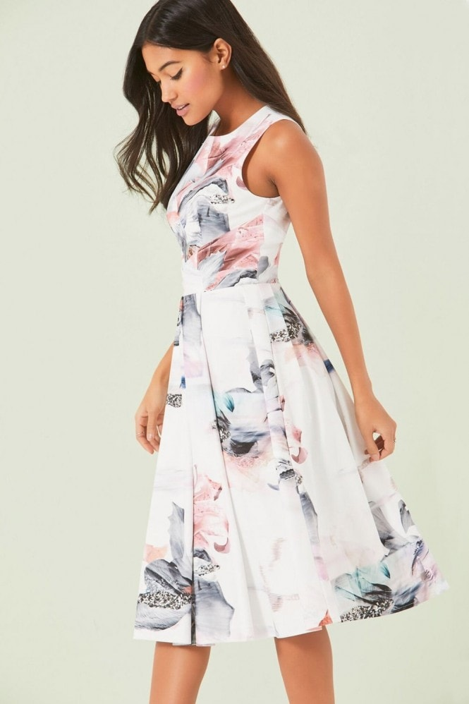 Little Mistress Print Midi Dress