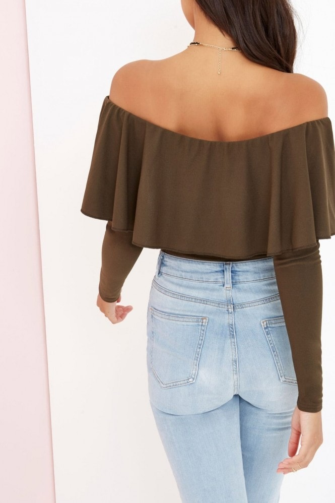 Girls on Film Khaki Off The Shoulder Bodysuit