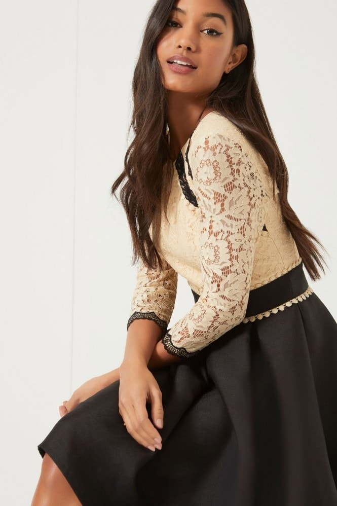 Little Mistress Beige Lace Fit and Flare Dress