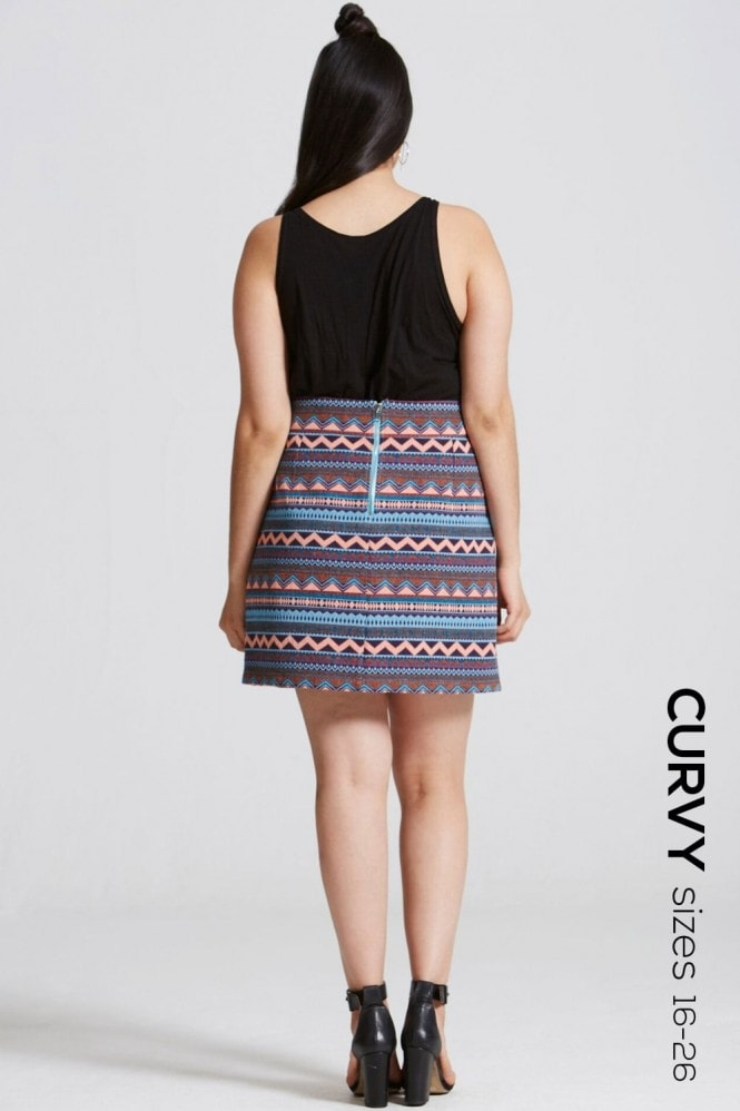 Outlet Girls On Film Aztec Print A Line Skirt