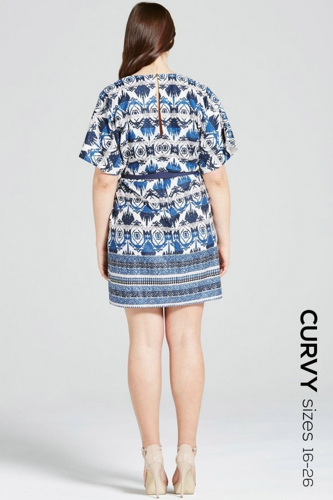 Girls On Film Curvy Navy Aztec Print Dress