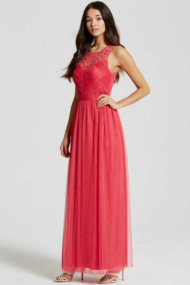 Little Mistress Cherry Embellished Pleat Detail Maxi Dress