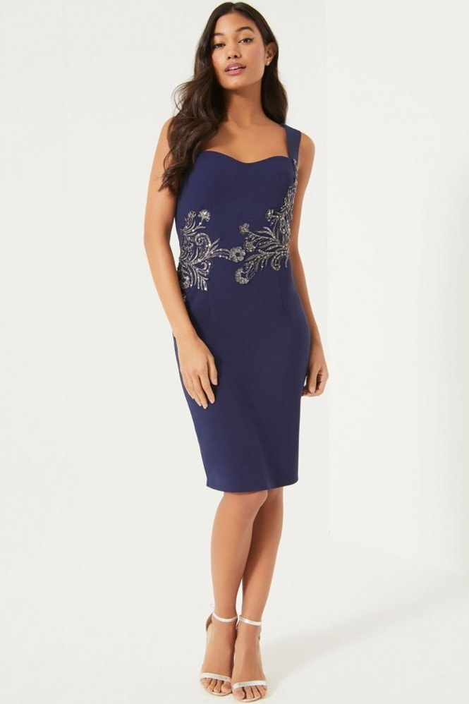 Little Mistress Navy Embellished Waist Bodycon Dress