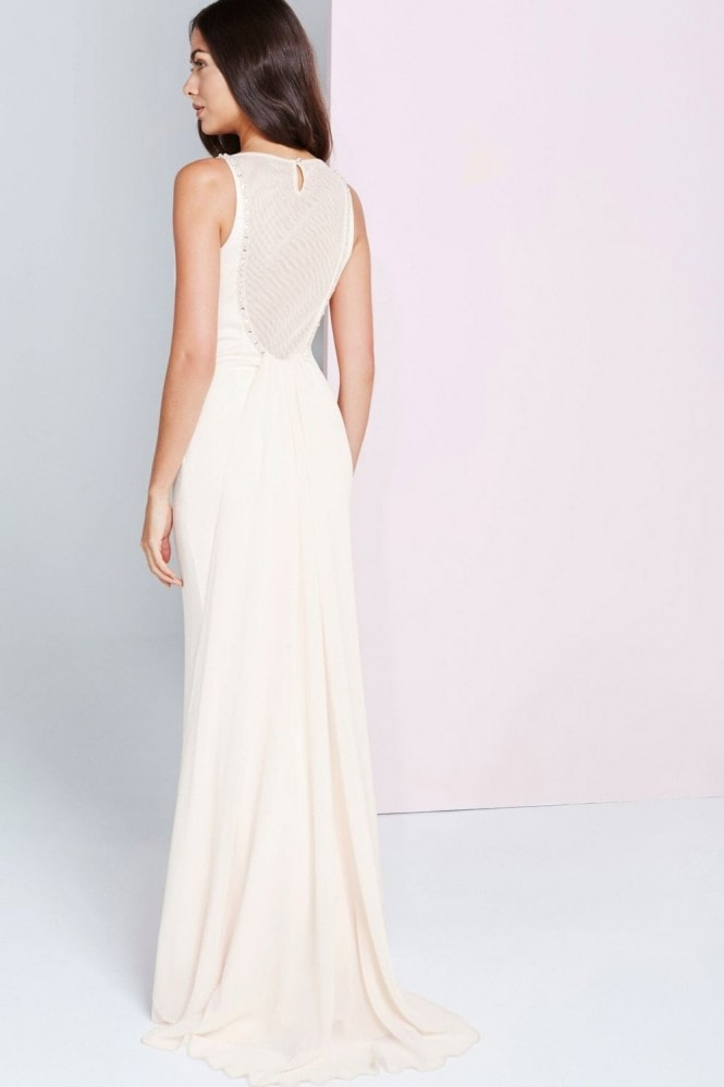 Little Mistress Nude Sheer Maxi Dress With Jewel Neckline