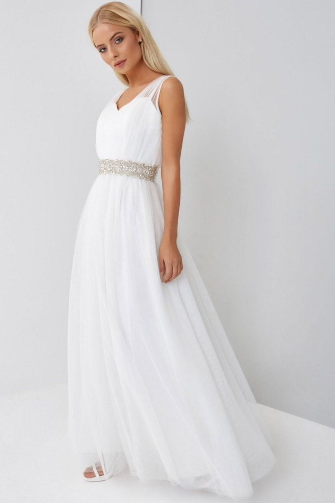 Little Mistress Erica Sheer Overlay Wedding Dress