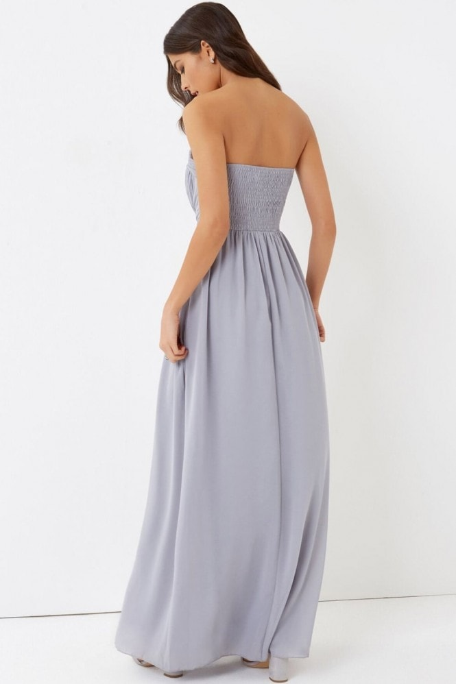 Little Mistress Grey Cut Out Bandeau Maxi Dress