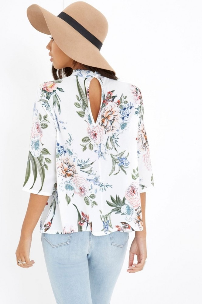 Girls on Film White Floral Print Top