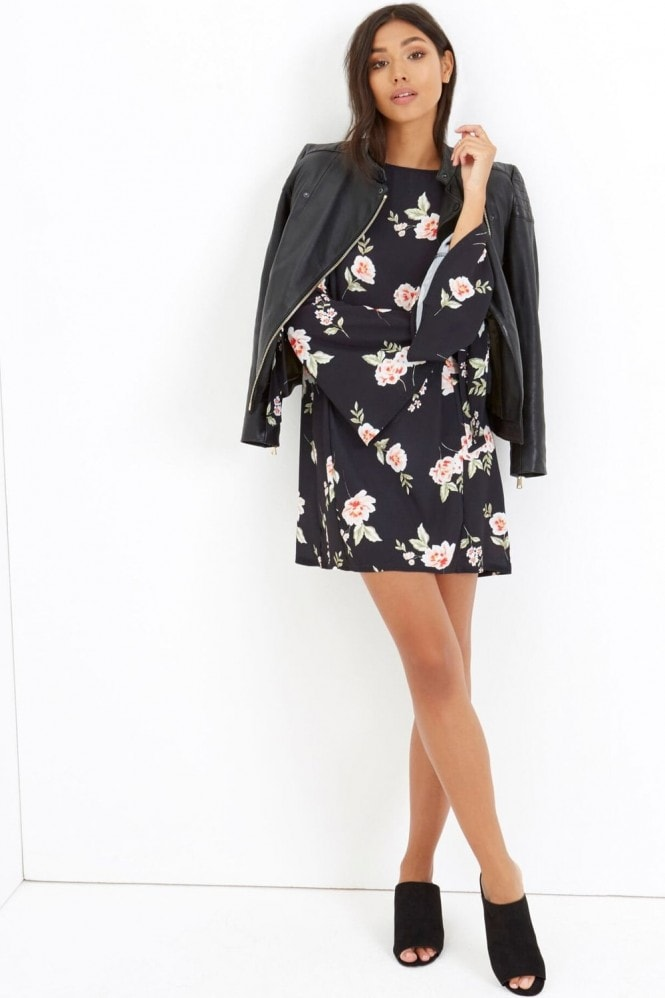 Girls on Film Black Floral Print Shift Dress