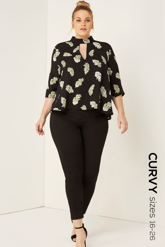 Girls On Film Curvy Feather Print Top