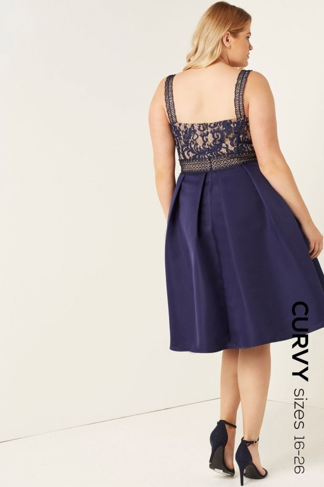 Navy Crochet And Lace Dress