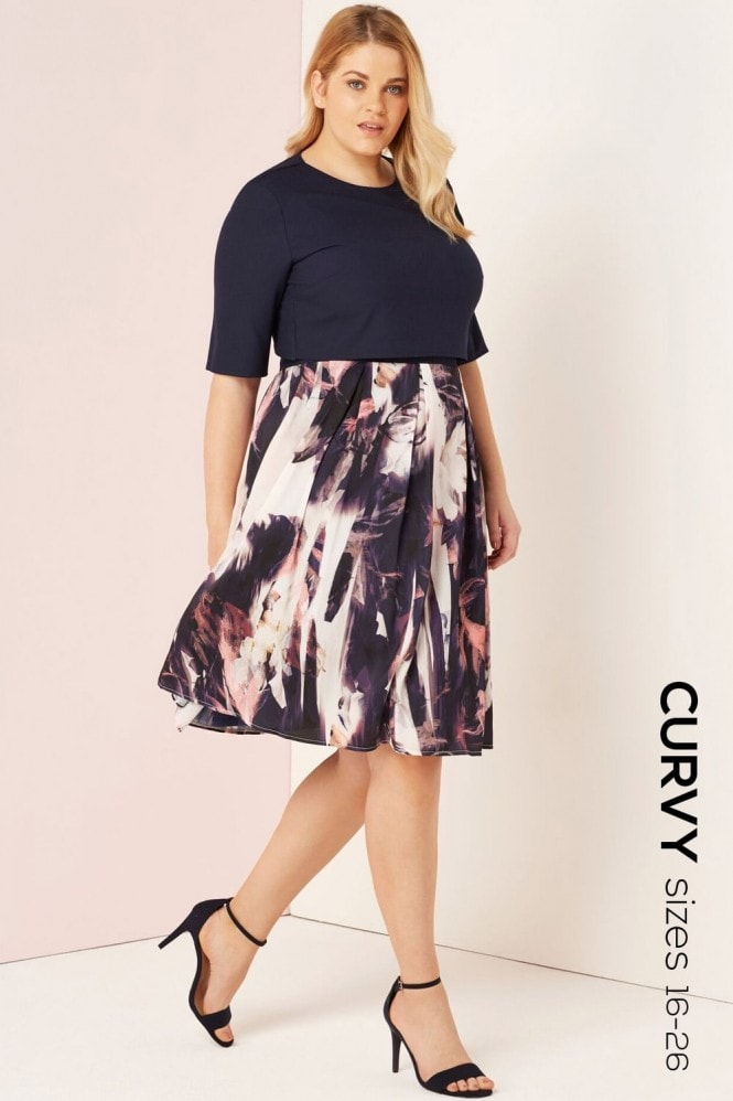 Little Mistress Curvy Floral Blur Print 2 In 1 Dress
