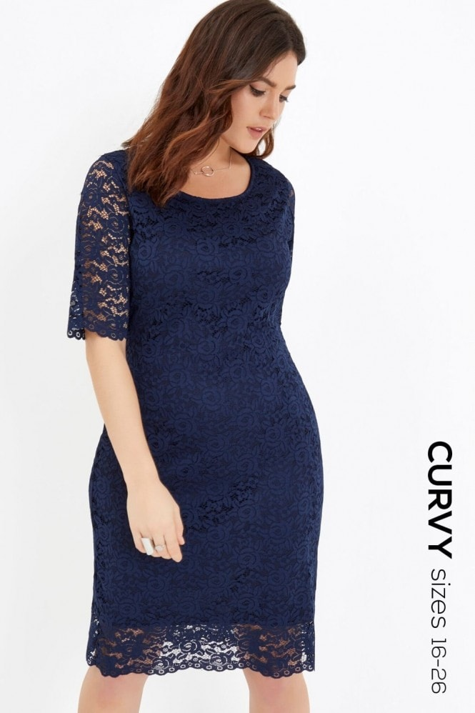 Girls On Film Curvy Navy Bodycon Dress