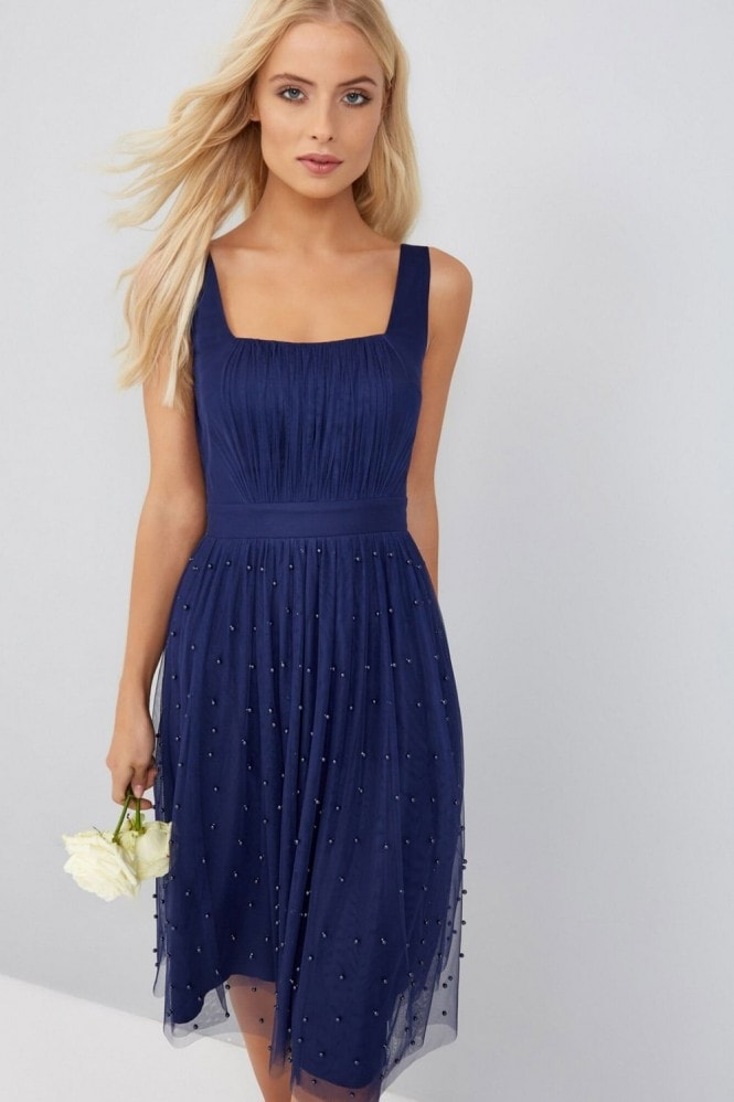Little Mistress Navy Midi Dress