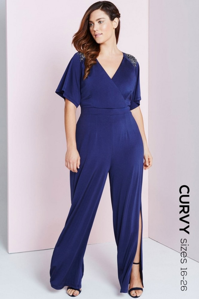 Navy Slinky Jumpsuit With Embellishment