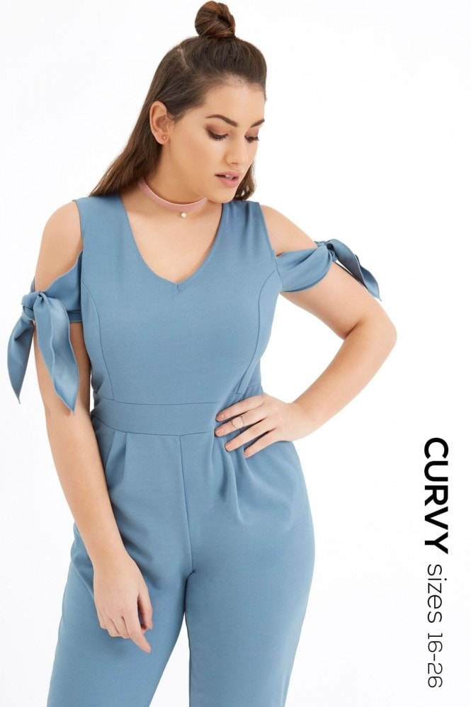 Girls On Film Curvy Blue Jumpsuit