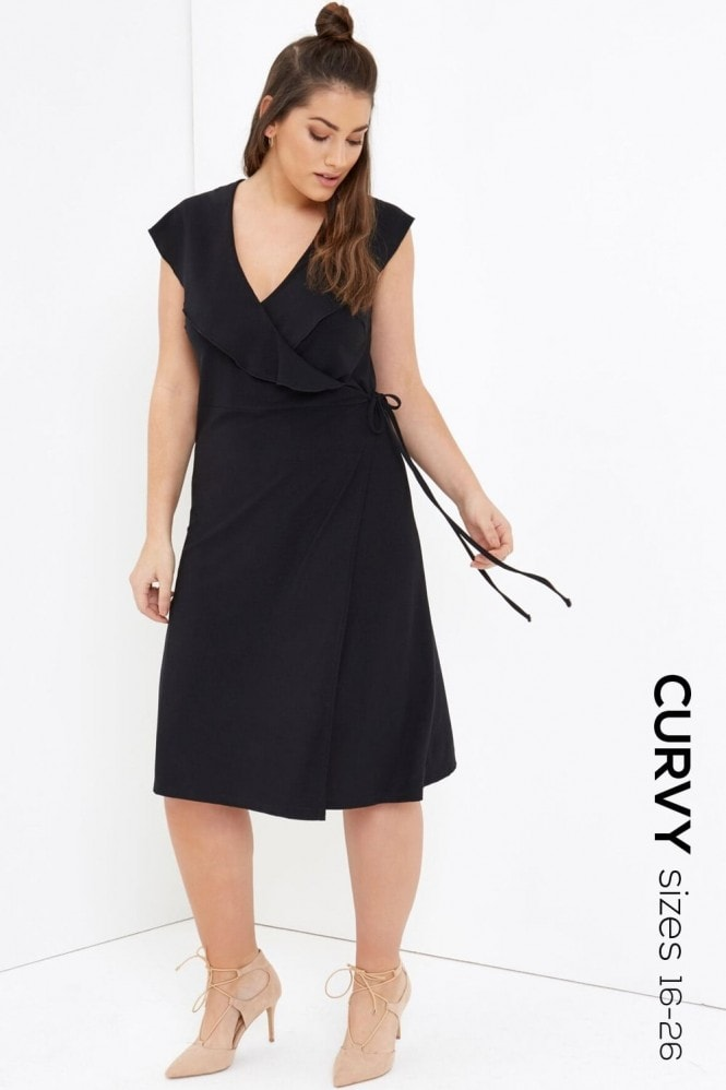 Girls On Film Curvy Black Midi Dress