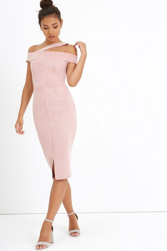 Girls on Film Pink Bardot Bodycon Dress