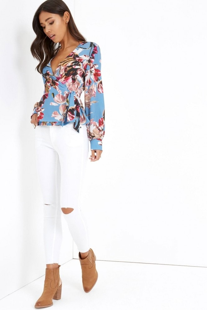 Girls on Film Blue Floral Print Wrap Top