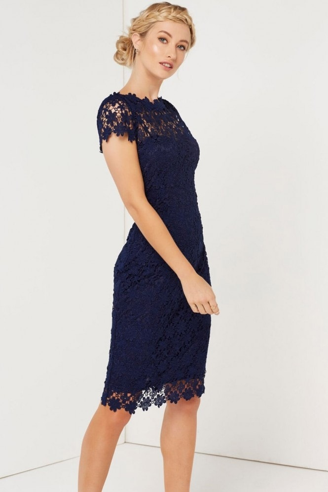 Paper Dolls Navy Crochet Dress