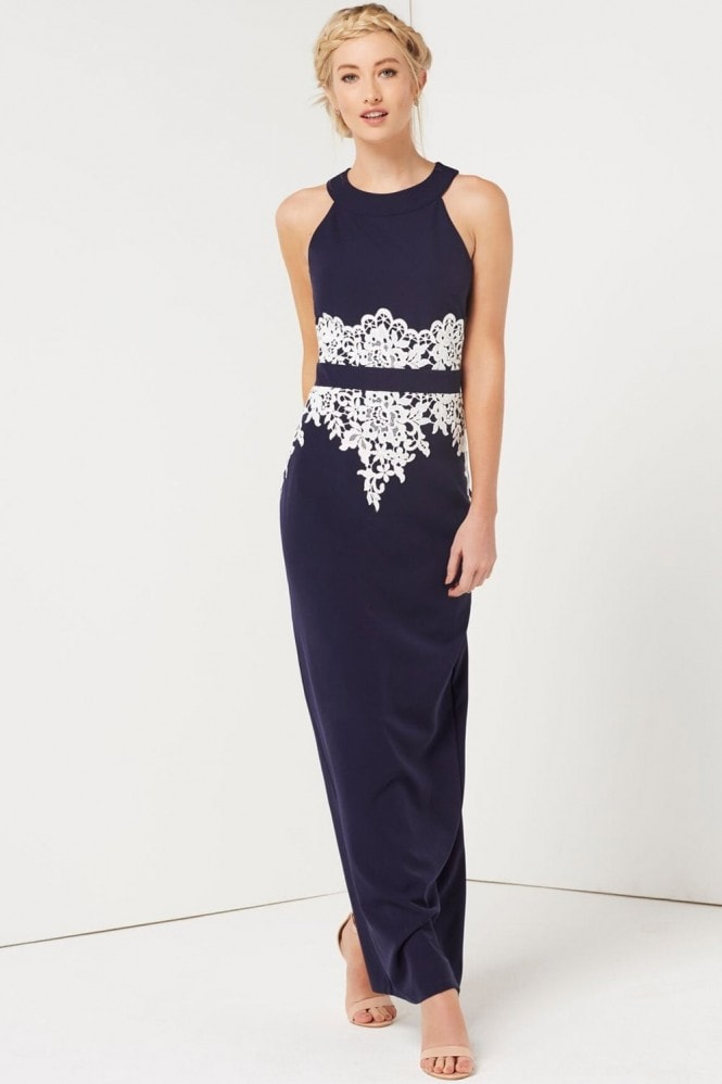 Paper Dolls Navy Crochet Waist Maxi Dress