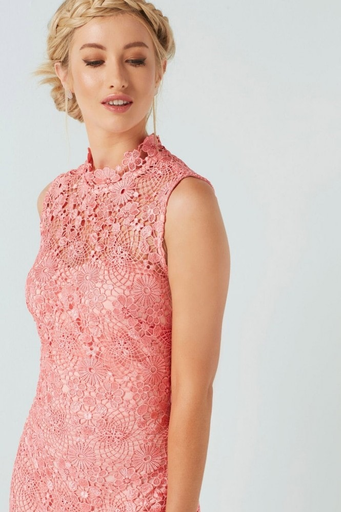 Paper Dolls Coral Crochet Dress