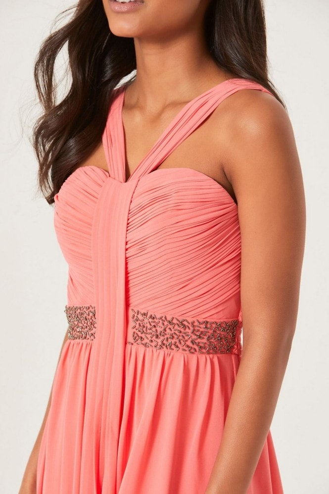 Coral Embellished Waist Maxi Dress