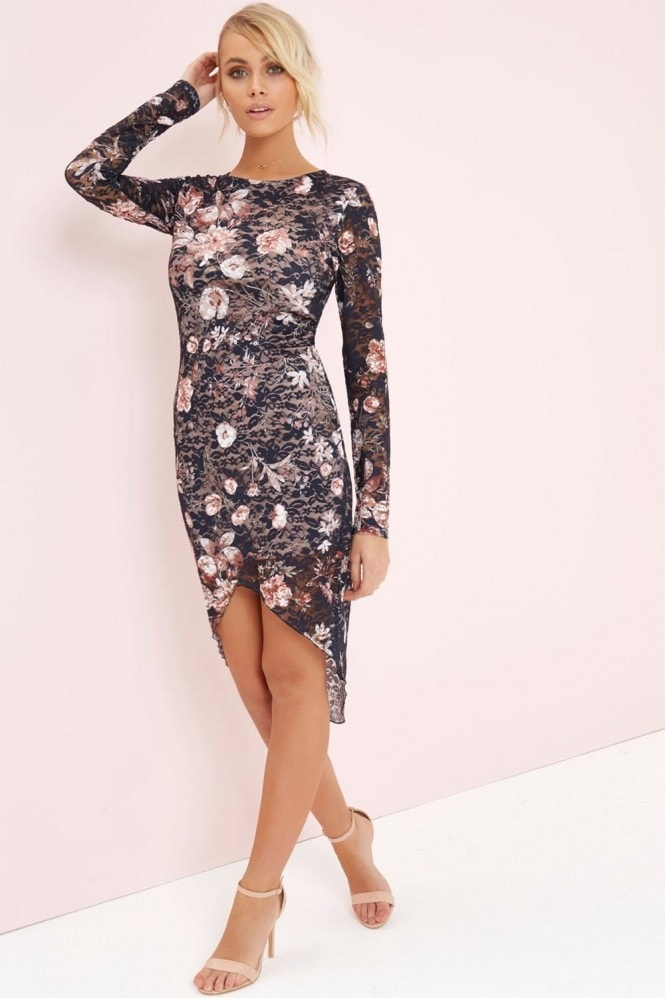 Girls on Film Floral Lace Bodycon Dress