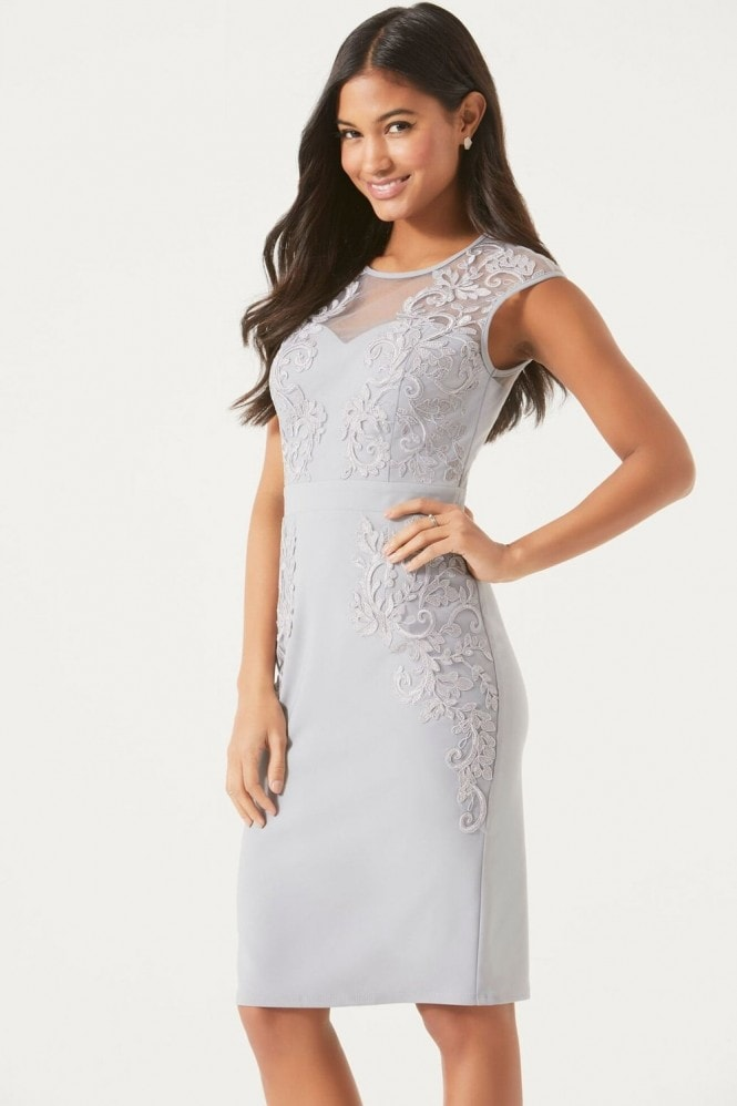 Little Mistress Grey Lace Applique Bodycon Dress