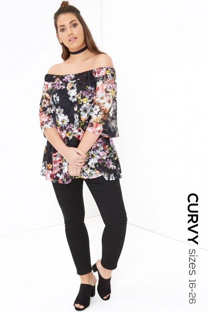 Girls On Film Curvy Printed Bardot Top
