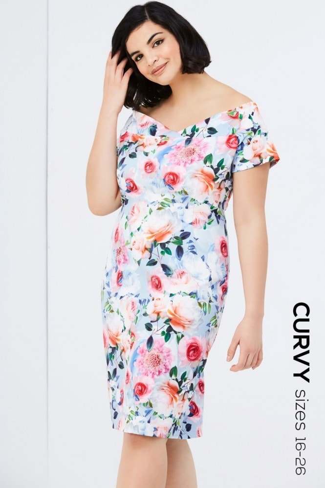 Outlet Paper Dolls Rose Floral Print Bodycon Dress